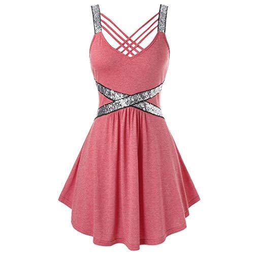 Find Discount Women Tank Tops - Criss Cross Backless Top Slim Waist Sequins Tank Tops Vest Dress Irr...