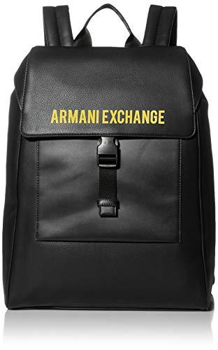 Armani Exchange Herren Logo Buckle Backpack Rucksack, Schwarz, O/S
