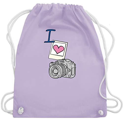 Shirtracer I love - I love photography - Unisize - Pastell Lila - turnbeutel fotografie - WM110 - Turnbeutel und Stoffbeutel aus Baumwolle