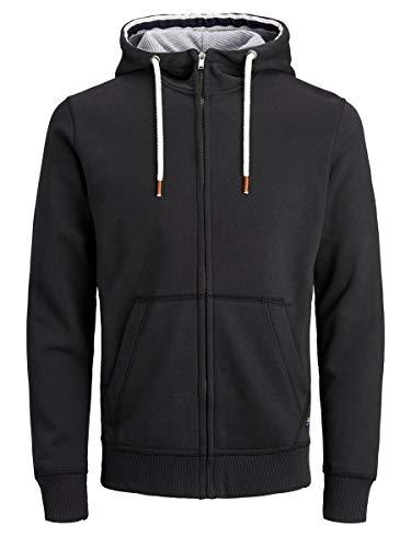 JACK & JONES JPRBLUTOM Sweat High Neck Zip Hood Sweatshirt Capuche, Noir, XL Homme