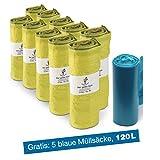 ProfessionalTree Gelber Sack 10 Rollen je 13 x Säcke - Müllbeutel 90 L - für Gelber Sack Ständer - Gratis 5er Rolle Müllsäcke 120 L blau -