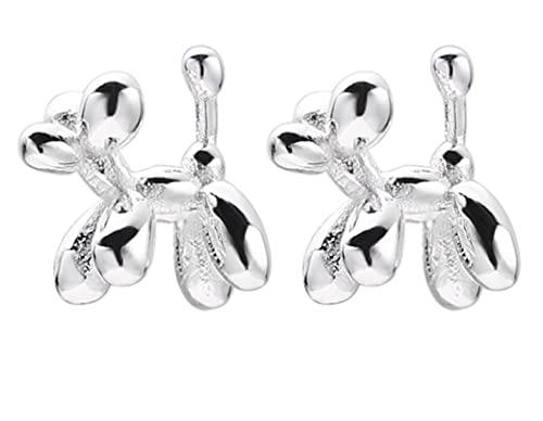 Pendientes de plata de ley 925 con diseño de globo para perro, regalo para mujer