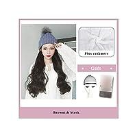 ナチュラル接続髪合成のBlack Hatカーリーヘアストレートヘアウィッグ弾性ニット帽子ウィッグ耐熱女性、41,22Inches