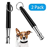 KOMUSII Dog whistle Adjustable Pitch Ultrasonic Dog Training Whistle for Recall and Barking Control,Loud and far-reaching,with Lanyard Strap Professional Dog Whistles,2 PCS Dog Whistle(Black)
