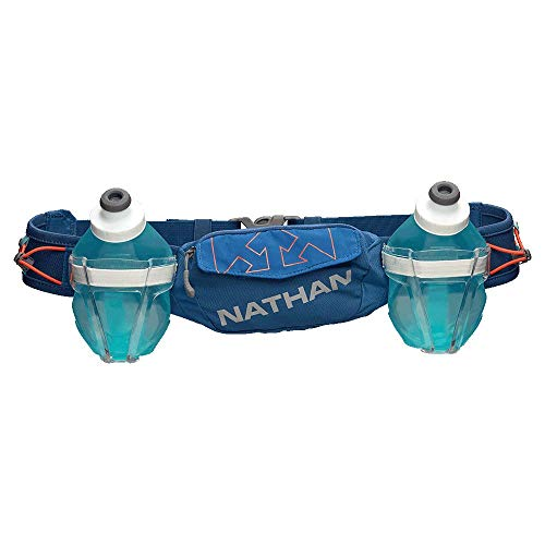 Nathan Hydration Running Belt Trail Mix Plus - Adjustable Running Belt – TrailMix Includes 2 Bottles/Flask – with Storage Pockets. Fits Most iPhones and Smartphones (Blue on Blue)