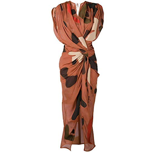 Jacquemus 'La Robe Henri' Print Drape Midi Dress Brown