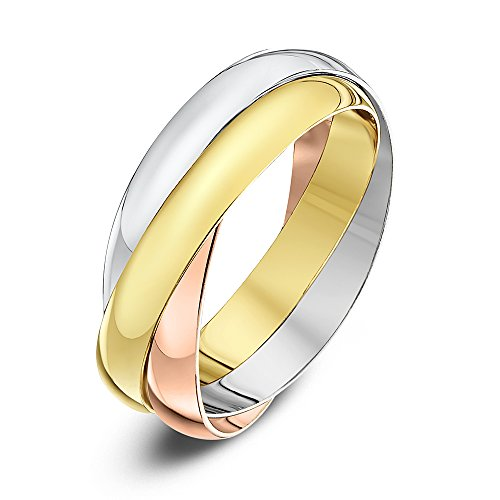 Theia Unisex 9 ct Rose, White and Yellow Gold 3 mm Russian Wedding Ring - Size R