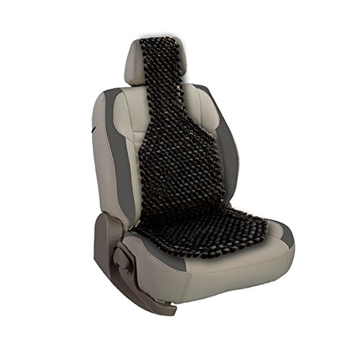 VaygWay Beaded Car Seat Cover-Black Wood Cushion Massage Comfort Cover- Wooden Bead Double Strung Cushion- Cooling Stress Fee Reduces Fatigue- Universal Auto SUV Truck Office Home
