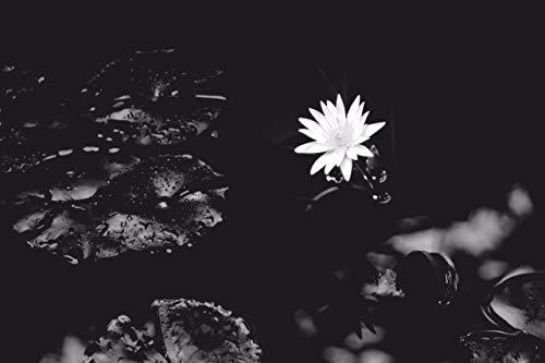 Kunstmatig lotusbladmotief in wit en zwart: 1000 delen houten puzzel, hoge kwaliteit en grote maten, een goed cadeau voor vrienden.
