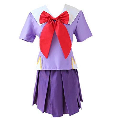 EChunchan Gasai Yuno Mirai Nikki School Uniform Cosplay Costume Halloween Christmas New Year Party Costume+Wig (Female M)