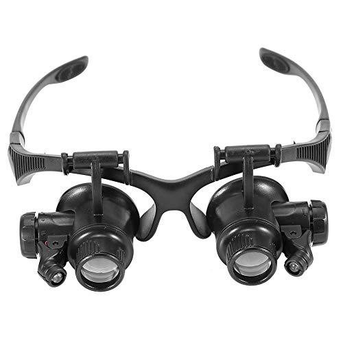 TMISHION Lupa LED, Gafas Profesionales para reparación, Nueva Cabeza con Lupa Lupa Doble Ojo Reloj Reparación de Joyas Gafas Lupa para Modelismo,Reparaciones,Coser,Soldadura,Eliminar Piojos