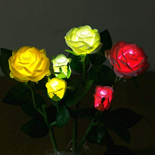 Anpro Solar Garden Rose Light, 3 lámparas solares impermeables con 6 rosas