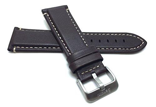 Leder Uhrenarmband 20mm für Herren, Braun, Wasserdicht, matte Oberfläche, auch verfügbar in schwarz mit graue Nähte