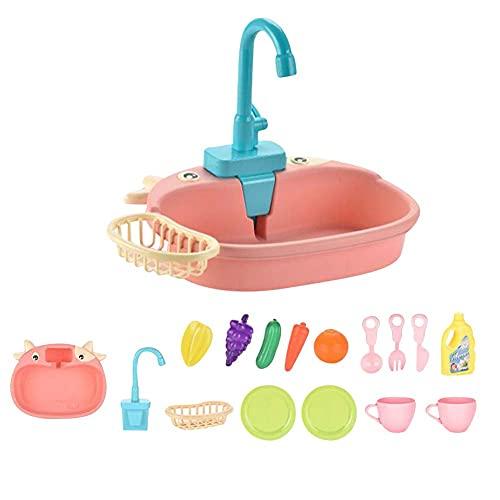 FXQIN 14pcs Juego de Fregadero Electrónico de Cocina con Simulación de Lavar Incluye Juguetes para Cortar, Utensilios de Cocina, Grifo de Agua, Regalos de educación para niños