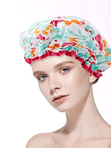 FengDing Chapeau réutilisable de bain de bonnet de douche des femmes imperméables de doubles couches, papillon imprimé