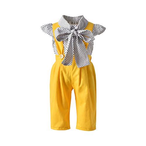 MysterLuna Conjunto de 2 Piezas de Blusa con Cuello de moño y Lunares para niñas y niños pequeños +…