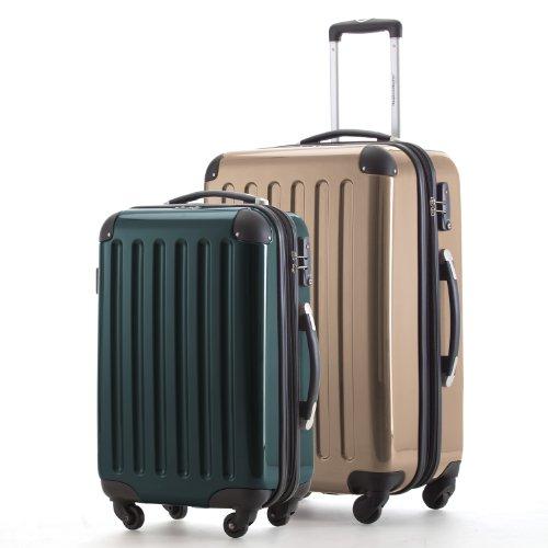 HAUPTSTADTKOFFER - Alex - 2er Koffer-Set Hartschale glänzend, 65 cm + 55 cm, 74 Liter + 42 Liter, Champagner-Waldgruen