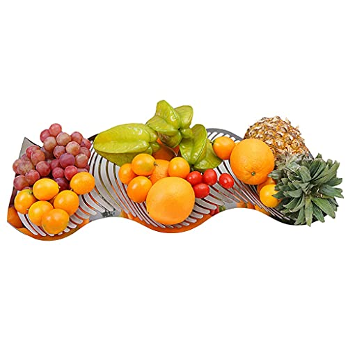Large Size Creative Fruit Tray Stainless Steel Household Fruit Basket Large Capacity Food Basin Snack Storage Basket Used For Parties, Kitchens, Weddings (Color : Silver, Size : 52 * 32cm)