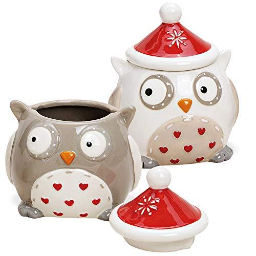 matches21 Plätzchendosen Eulen mit Mützen Mini Dosen kleine Keksdosen Weihnachten Keramik braun weiß 2er sort 11 cm
