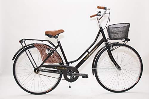 Bicicleta de paseo holandesa para mujer, talla 26, bicicleta de ciudad vintage retro con cesta
