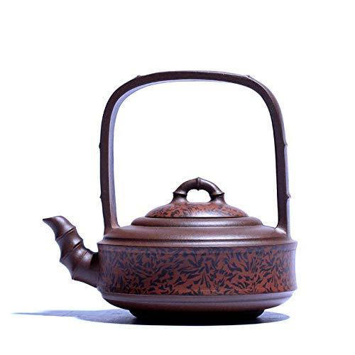 Zisha Teapot Purple Clay Teapot Handmade Raw Ore Purple Clay Teapot Bamboo Section Lifting Beam Bamboo Section Tea Set