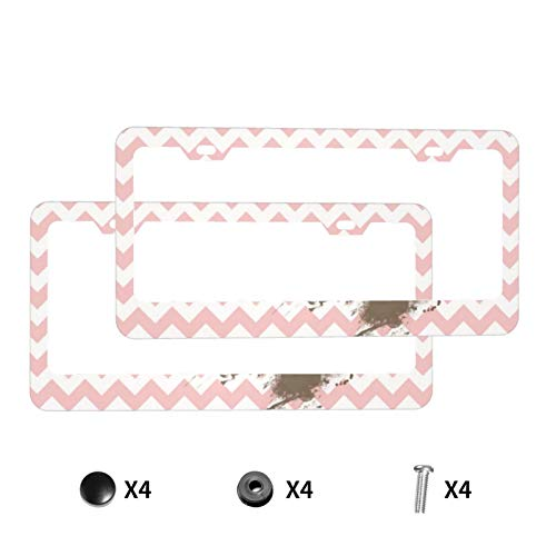 Aluminum License Plate Frame with Screw Caps,Funny Paw Print On Baby Pink Light Pink Chevron 2Pcs 2 Holes Plate Holder, Car Licenses Plate Covers for Vehicles