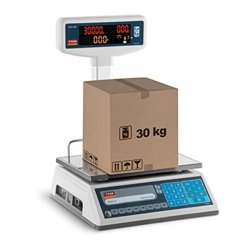 TEM Balance Poids-Prix Commerce TEL030B1D-V2-B1 (Écran LED sur trépied, Calibrée, 15 kg/30 kg, 5g/10 g, Batterie Jusqu'à 40h, Différentes Fonctions)
