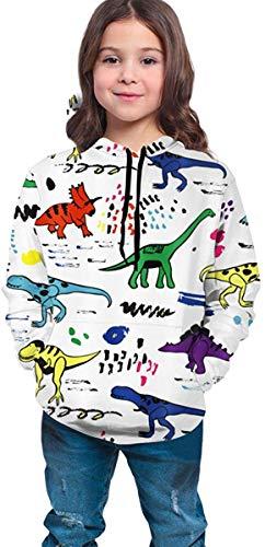 Lou Chapman Jungen Mädchen Hoodies Fleece Colorful Dinosaurs with Scrawl Art Print Taschen Sweatshirts Fleece Hooded Hoodies 7-20Y
