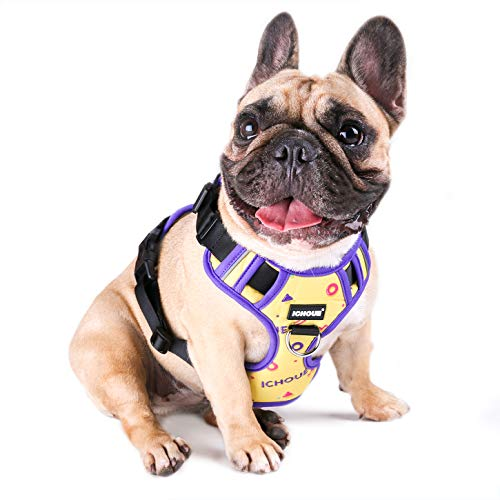 iChoue Dog Vest Harness Soft Padded No Pull Adjustable Reflective for Small Medium Dogs - Multi Color M