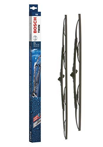 Bosch Balais d'Essuie–Glace Plats Conventionnel Twin 725, Longueur : 650mm/550mm – 1 Paire de Balais Avant