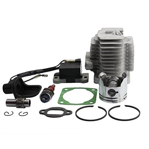 GOOFIT Cilindro Moto 44mm Testa Pistone y Guarnizioni con Dispositivi di Candela Accensione per 47cc 49cc Motore 2 Tempi Mini Quad ATV Pocket Dirt Bik