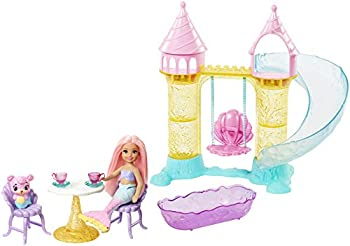 Barbie Dreamtopia Mermaid Playground Playset with Chelsea Mermaid Doll Merbear Friend Figure and Sand Castle Set with Swing Slide Pool and Tea Party Gift for 3 to 7 Year Olds