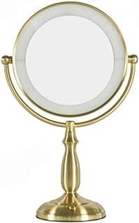 LLSS منضدة فانيتي مرايا ماكياج سطح المكتب مصباح مزدوج الوجهين مرآة كبيرة للتزين 10 مرات قابلة لإعادة الشحن ملء الضوء مع مرآة