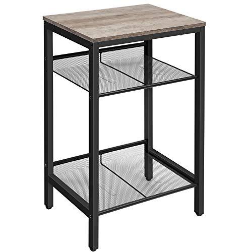 HOOBRO Mesa auxiliar, mesa de teléfono industrial con estantes de malla ajustables, para oficina o sala de estar, muebles de aspecto de madera, alto y estrecho, fácil montaje, Greige BG01DH01