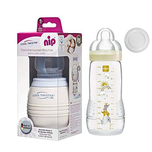 NIP Flaschenkühler Cool Twister inkl. inkl. 1 x MAM BabyBottle Easy Active Flasche 330ml mit Sauger 4 Mo+