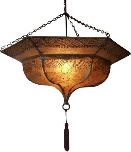 Guru-Shop Henna - Leder Deckenlampe/Deckenleuchte Tuareg, Weiß, Farbe: Weiß, 20x50x50 cm, Orientalische Deckenlampen