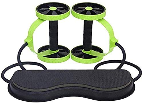 Ab Carver Roller Pro Dual Wheel Abdominal Training Exercise Core Workout Equipment with Knee Pad and Resistance Bands Fitness Trainer for Home Gym