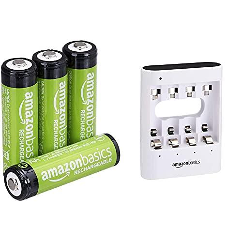 Amazon Basics - Caricabatterie USB rapido, bianco & Batterie AA ricaricabili, pre-caricate, confezione da 4 (l'aspetto potrebbe variare dall'immagine)