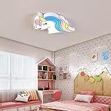 Plafón Para Niños Led Lámpara De Techo Para Habitación Infantil Chico Chica Dormitorios Blanco 52 * 39 Cm Luz Blanca Lámpara Niña Princesa Unicornio