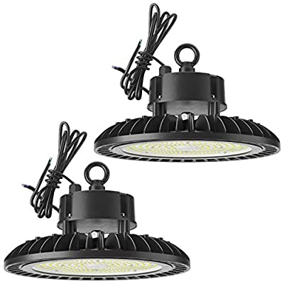 Sunco Lighting 2 Pack UFO LED High Bay, 150W, 600W HID Replacement, 21,000 LM, 5000K Daylight, IP65 Waterproof, Commercial Grade Lighting, Hook Mount, Safety Cable, Warehouse - UL, DLC