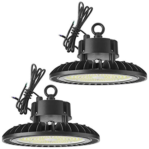 Sunco Lighting 2 Pack UFO LED High Bay, 240W, 1000W HID Replacement, 33,500 LM, 5000K Daylight, IP65 Waterproof, Commercial Grade Lighting, Hook Mount, Warehouse - UL, DLC