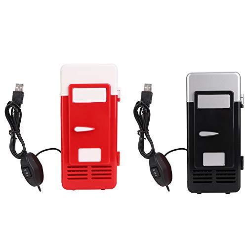 Mini lodówka z zamrażarką,Chłodniejsze i cieplejsze,Szybkie chłodzenie,Cichy,Regulowana temperatura,Przenośna lodówka osobista z interfejsem zasilania USB do domowego akademika samochodowego(czerwony)