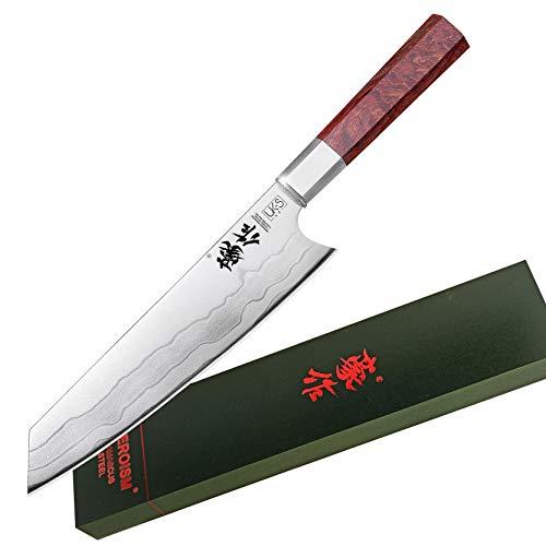 UK-S Art Premium Küchenmesser mit 20 cm Klinge, japanische Kiritsuke Stilklasse, 7-lagiges Damastmesser aus hochwertigem 440C- Edelstahl, HRC 60±2, Ultra scharfes Kochmesser mit Palisanderholz-Griff