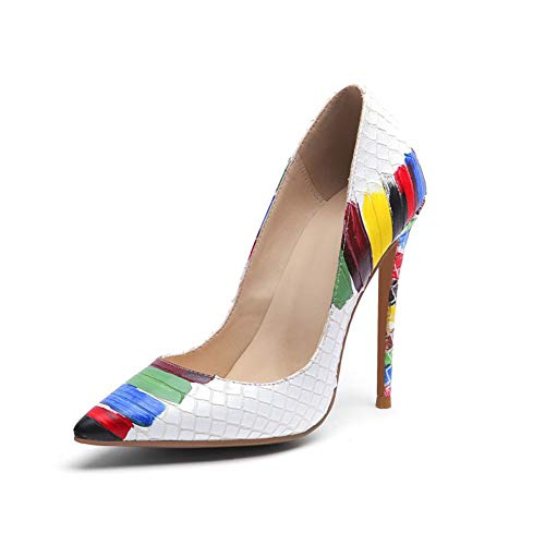 SHXITAYNB Damen High Heels, 4,7 Zoll Spitze High Heels, Buntes Lackleder, Für Alle Gelegenheiten Geeignet (Weiß, Rot),Weiß,42