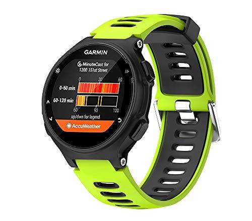 WIIKAI Compatible con Garmin Forerunner 735XT,630,620,235,230,220 Correas para Relojes, Correa de Pulsera de Reemplazo(Verde + Negro).