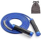 LIUCHEN Cuerda de salto de 3 m ajustable con peso cuerda de salto pesada para entrenamiento Fitness sin enredos rodamientos de bolas asas de saltar cuerda de gimnasio azul cuerda de tejer