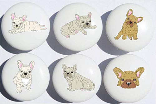 Frenchie Bulldog Puppy Drawer Knobs French Dogs Ceramic Cabinet Pulls for Nursery Dresser or Children's Room Decor