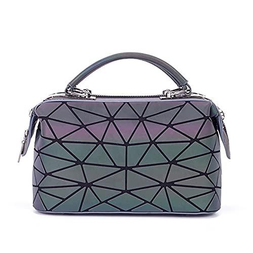 QIANJINGCQ el nuevo bolso de hombro de todo fósforo marea rombo geométrico láser luminoso bolso fresco personalidad moda mochila