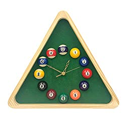 YH Poker 13 Inch Billiard Quartz Clock with Solid Wood Frame Creative Wall Clock for Living Room,Bedroom