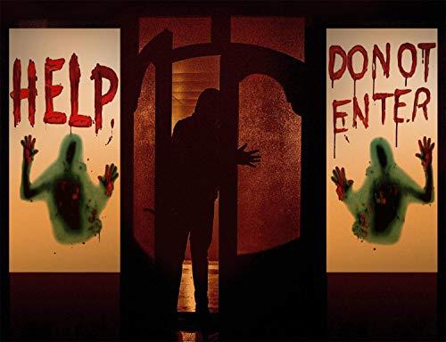 heekpek Decorazioni di Halloween Adesivi per Finestre Impronta di Mano Spettrale Aderisce Adesivi Halloween Puntelli di Decorazione Horror per la Decorazione di Halloween Porta Finestra Bagno